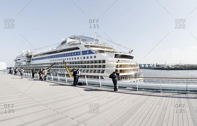 April 18, 2011: AIDA cruise ship at the cruise terminal in Altona, Hamburg, Germany