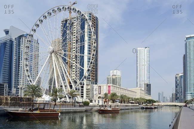 February 13, 2012: Ferris wheel 'Eye of the Emirates' in the AL QASBA amusement park, Emirate of Sharjah, United Arab Emirates, Arabian Peninsula, Middle East