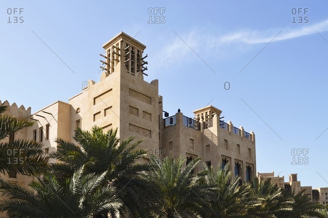 Architecture, wind towers, historical, Souk Madinat, Jumeirah, Emirate of Dubai, United Arab Emirates, Arabian Peninsula, Middle East
