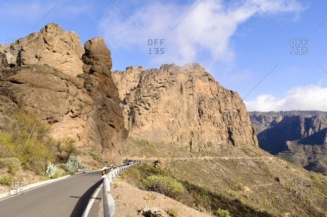 Mountain road with rocks, Gran Canaria, Canary Islands, Spain
