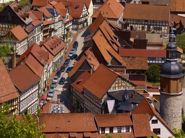 May 20, 2011: View of Stolberg with market and Saigerturm, Stolberg/Harz, Saxony-Anhalt, Germany