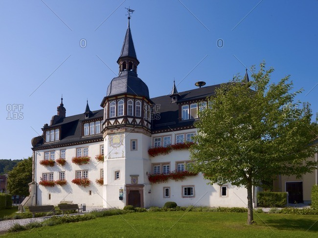 Mansion from 1632-34 with sundial, Frauensee, Thuringia, Germany