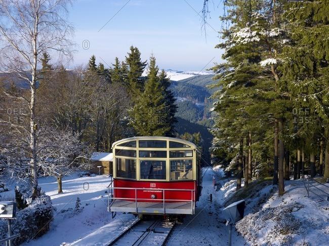 January 22, 2011: Oberweissbacher Berg- and Schwarzatalbahn from the mountain station in Lichtenhain, Saalfeld-Rudolstadt district, Thuringia, Germany