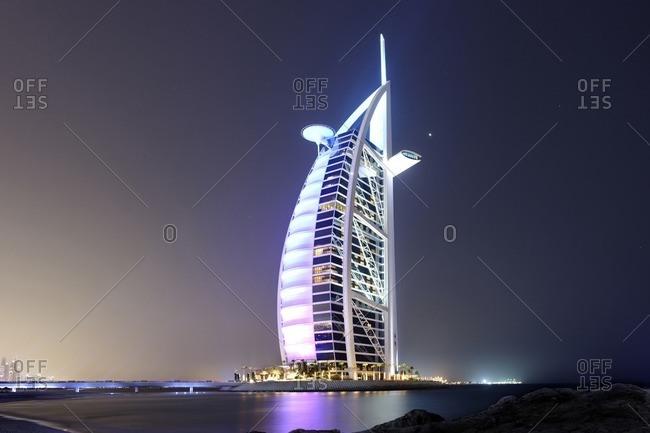 February 15, 2012: Burj al Arab, luxury hotel, Dubai, United Arab Emirates, Asia