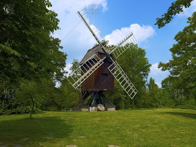 Bock windmill of the Open Air Museum, Hanseatic City of Stade, Lower Saxony, Germany