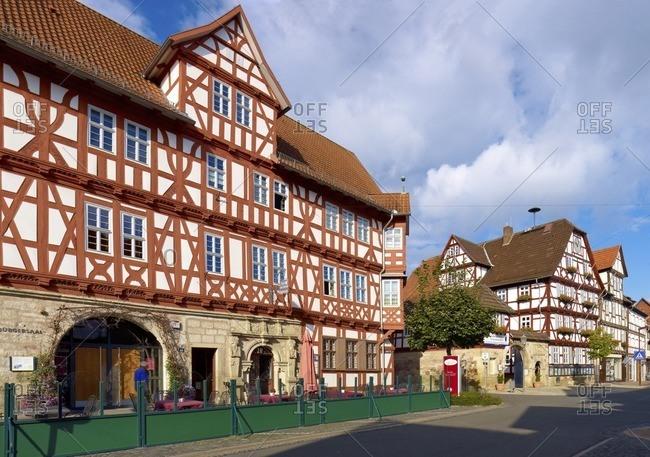 January 11, 2013: Hotel Schwan and town hall in Wanfried, Werra-Meissner-Kreis, Hesse, Germany