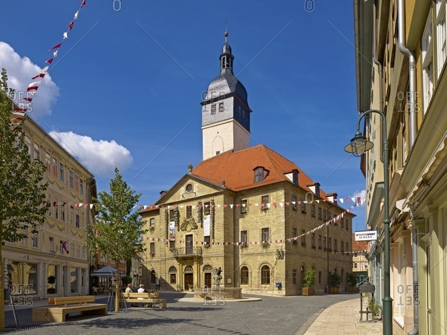 January 11, 2013: Town hall with Marktstrasse, Bad Langensalza, Thuringia, Germany