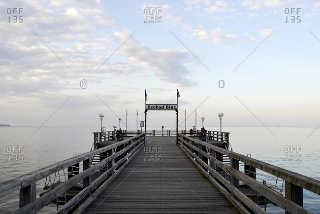 June 9, 2012: Pier in the evening, Ostseebad Binz, Ruegen Island, Mecklenburg Western Pomerania, Germany