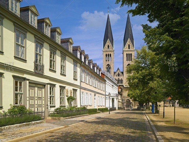 Cathedral square with St. Stephen's Cathedral and St. Sixtus, Halberstadt, Saxony-Anhalt, Germany
