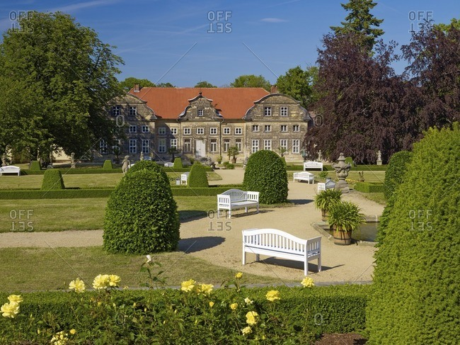 Baroque garden with small castle in Blankenburg/Harz, Saxony-Anhalt, Germany
