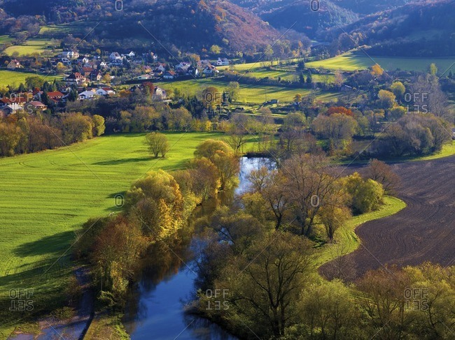 View of the Saale valley with Dorndorf in autumn, Dornburg, Thuringia, Germany