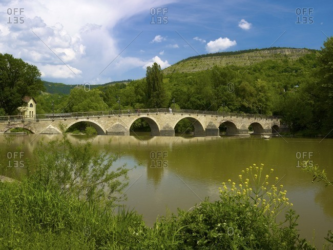 Historic bridge in Goschwitz over the Saale, Jena, Thuringia