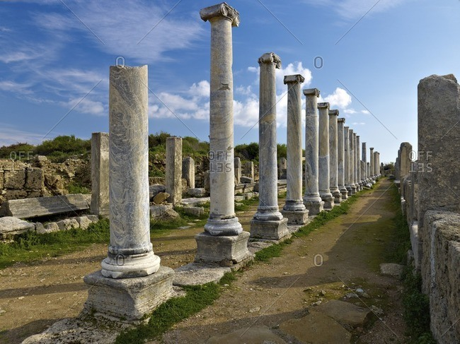 Pillars of the Agora in the ancient city of Perge near Antalya, Turkey
