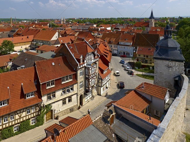 January 11, 2013: Panoramic view from the Raven's Tower over the oldtown to the church Jakobikirche and Frauentor, Mulhouse, Germany