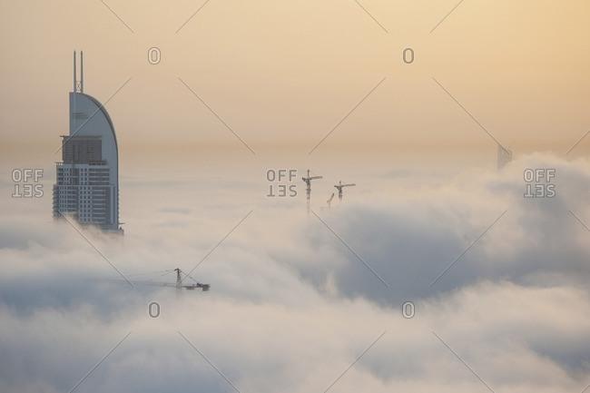 Downtown Dubai in heavy fog, United Arab Emirates