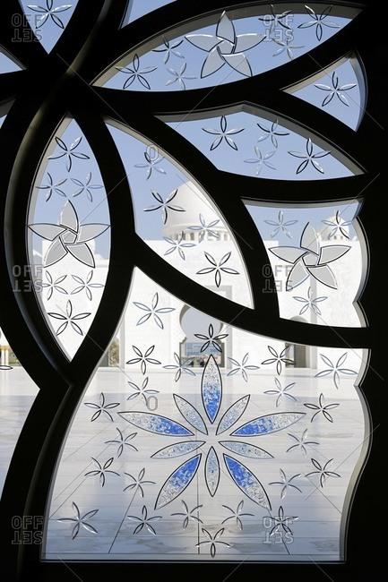 Window in Sheikh Zayed Mosque, Abu Dhabi, United Arab Emirates