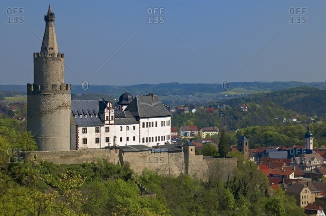 Osterburg with old town of Weida, Thuringia, Germany