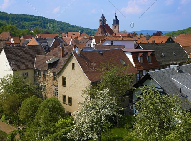 Panoramic view over the old town with St. George's Church in Schmalkalden, Thuringia, Germany