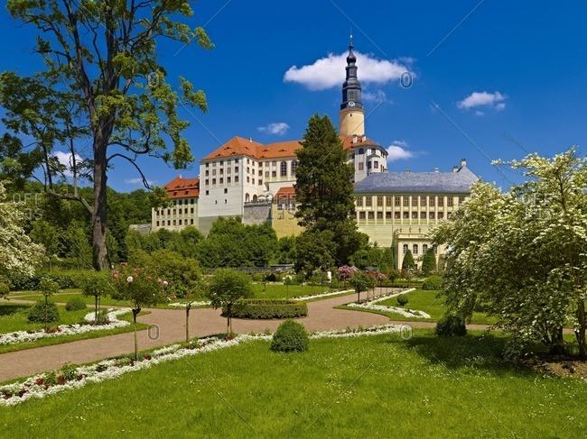 Weesenstein Castle with baroque garden in Muglitztal, Saxony, Germany