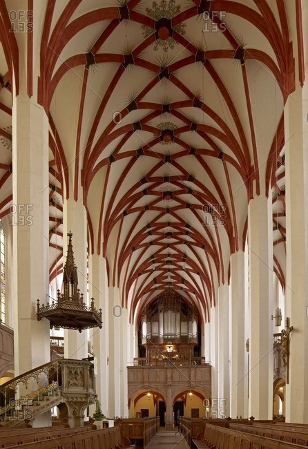 March 8, 2013: Interior view of the Thomaskirche with organ, Leipzig. Saxony, Germany