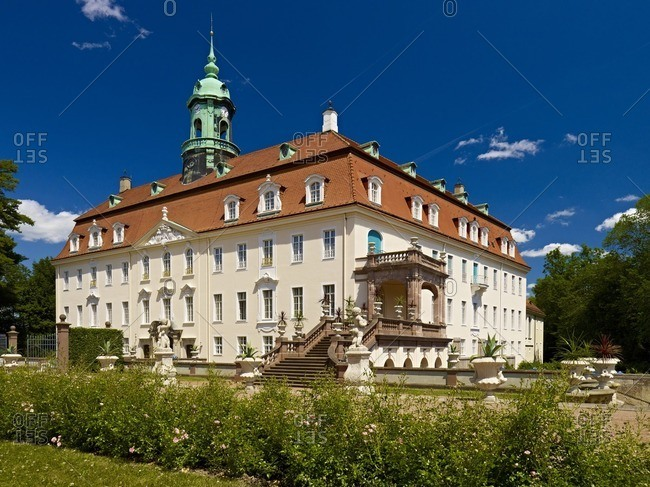 Lichtenwalde castle with baroque garden, Saxony, Germany