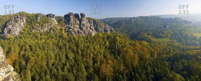 Little goose rock formation above the Wehlgrund, near Rathen, Saxony, Germany