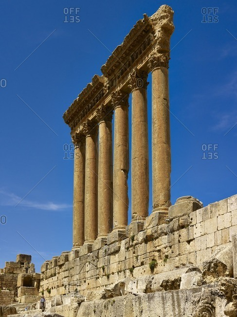 March 8, 2013: Pillars of the Temple of Jupiter in the ancient city of Baalbek, Lebanon