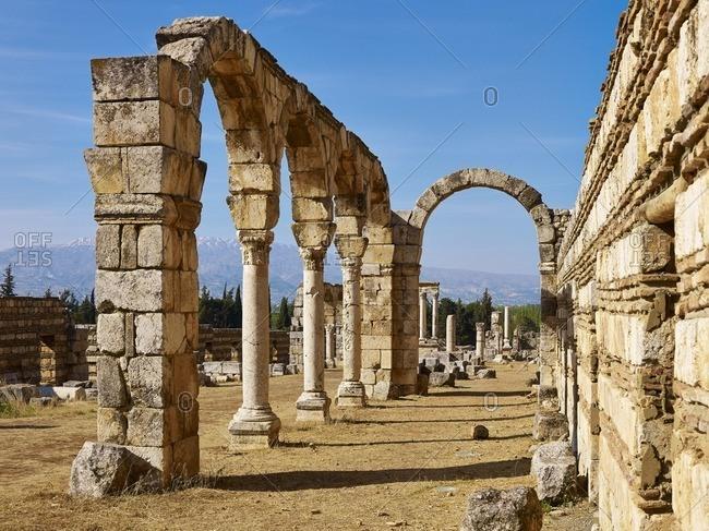 Column street of the ancient city of Anjar also Haoush Mousa, Lebanon