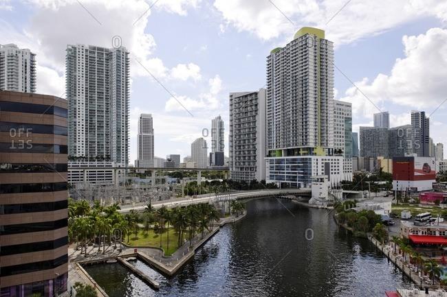 September 29, 2011: Skyscrapers, cityscape, office building, Downtown Miami, Miami, Florida, USA