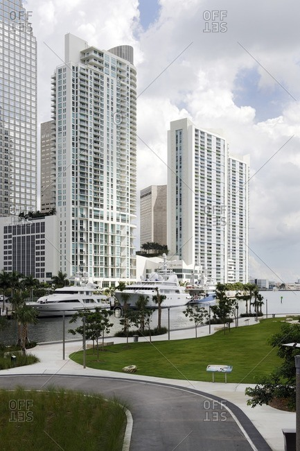 September 30, 2011: Yachts in the EPIC Marina, Miami River Walk, Downtown Miami, Florida, USA