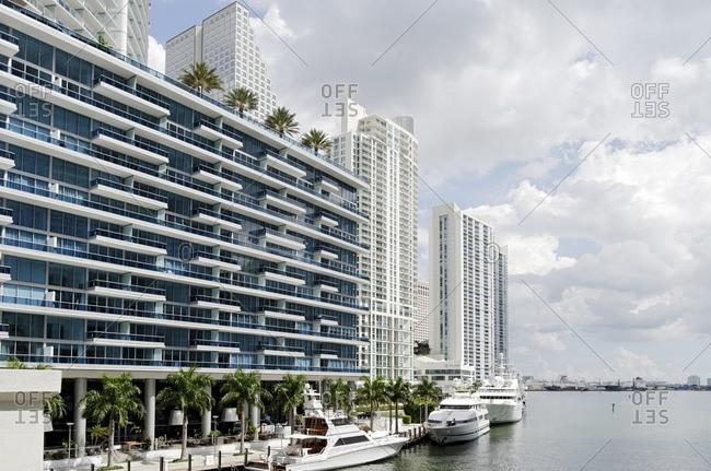 September 30, 2011: Yachts in the EPIC Marina, Miami River Walk, Downtown Miami, Florida, USA