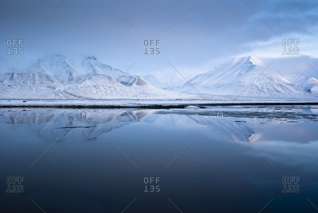 Massif of Adventdalen and the Isfjords at dusk, Spitsbergen, Norway, Europe