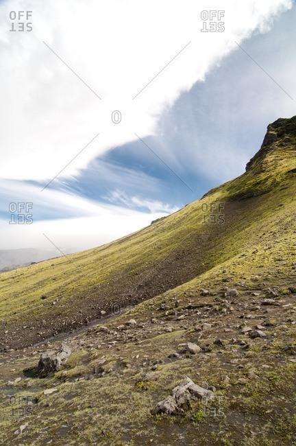 Landscape on the way from Skogar to Landmannalaugar, Iceland, Europe