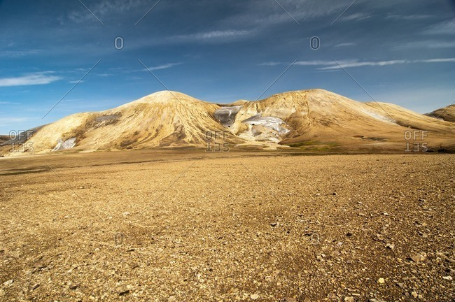 Barren volcanic landscape on the way from Skogar to Landmannalaugar, Iceland, Europe