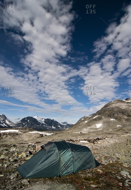 Tent in the mountains, Jotunheimen National Park, Norway