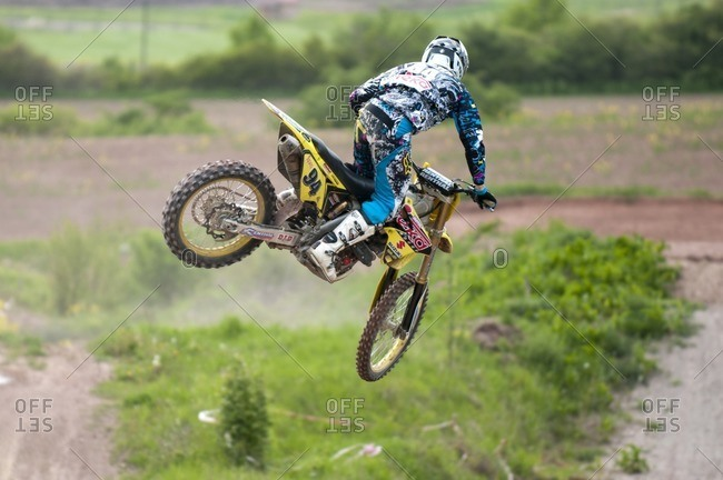 May 17, 2010: Motocross rider on a racetrack