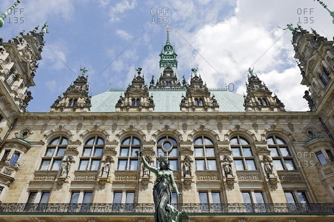 The historic Hygieia fountain in the courtyard of the town hall, Hamburg, Germany