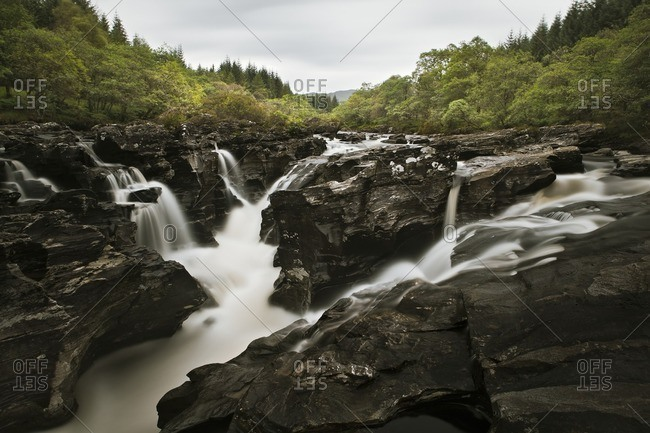 Waterfall, rapids on the Orchy River in the Scottish Highlands, Scotland, UK
