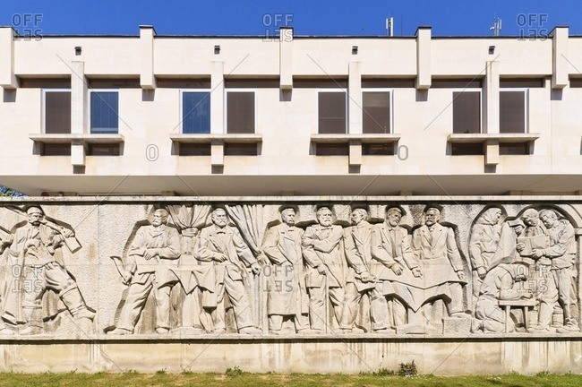 April 24, 2011: Communist style building with wall relief, Plovdiv, Bulgaria, Balkans, Southeast Europe