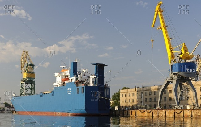 May 31, 2011: Ship and crane in the port, Sevastopol, Crimea, Ukraine, Eastern Europe