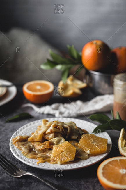 Crepes Suzette On A Gray Surface