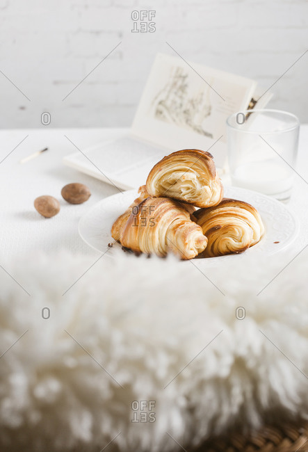 Freshly baked croissants on a white background.