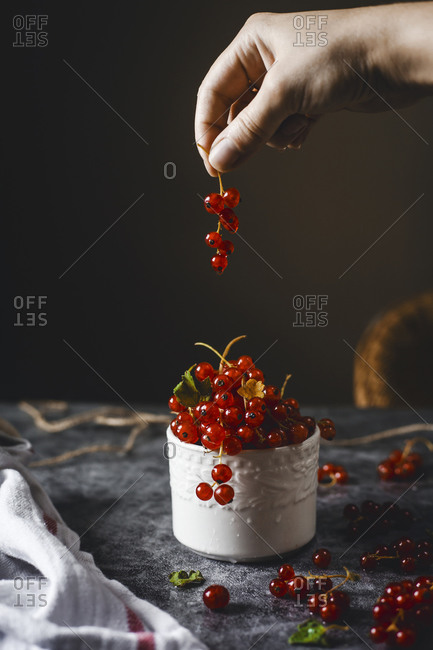 Hand reaching for Red Currants In a White Cup