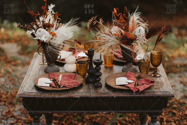 Rustic table set with fall decorations outdoors
