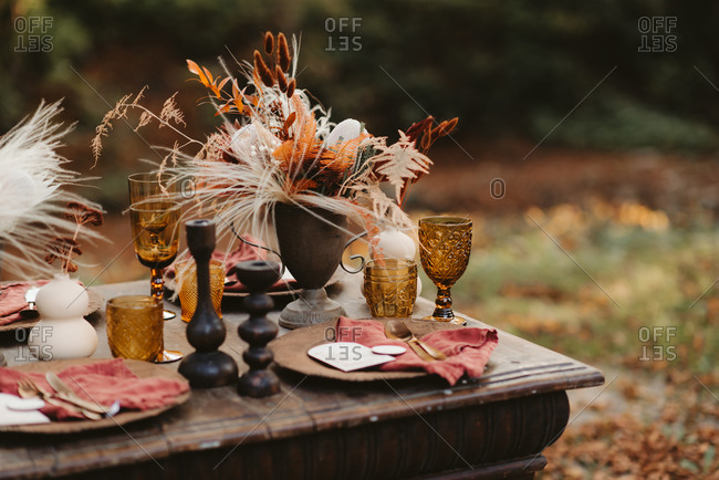 Rustic table set with fall plants and feathers outdoors