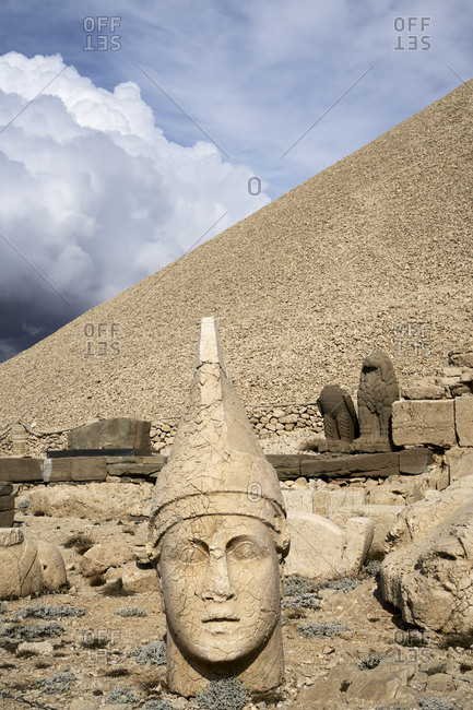 Nemrut Da?, Turkey; November 3, 2018; Crowning one of the highest peaks of the Eastern Taurus mountain range in south-east Turkey, Nemrut Da? is the Hierotheseion (temple-tomb and house of the gods) built by the late Hellenistic King Antiochos I of Commagene (69-34 B.C.) as a monument to himself.