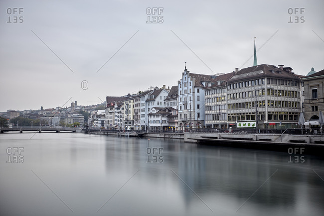 September 27, 2016: Zurich, Switzerland; September 27, 2016; The Limmat is a river in Switzerland. The river commences at the outfall of Lake Zurich, in the southern part of the city of Zurich.
