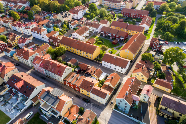 Aerial view of the old town of Vastervik in summer