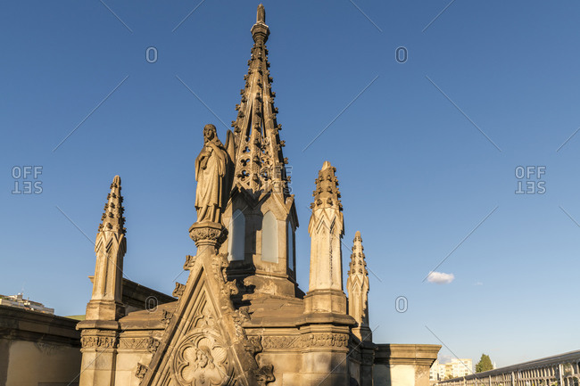 Poblenou Cemetery with Angel statues in Barcelona