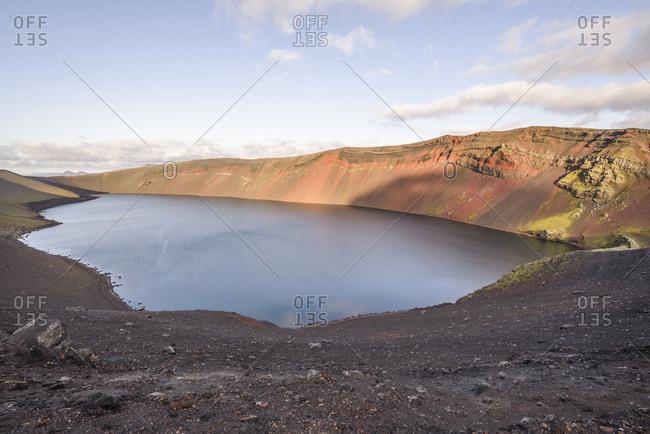 View of Lake Ljotipollur from top of ridge in Landmannalaugar, Iceland